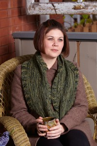 Jen is pensive in her Whitman Cowl