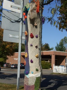 Yarn bombing at Nancy O in Ridgefield, CT