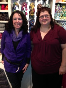 Visting with Pam (left) of Westport Yarns