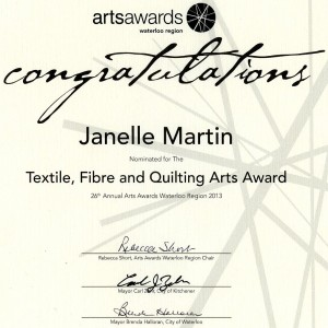 Textiles Fibre and Quilting Arts Award Nomination