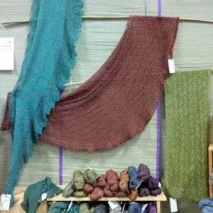 Pyrenees Shawl on display in Sericin Silkworks booth at Knitters' Fair