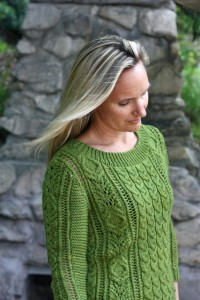Julia Trice modeling her Loden sweater