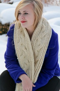 Fish Moderne Scarf, a cabley winter scarf in EcoWool.
