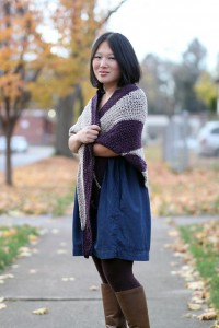 Sara Peterson, modeling Tilt Shift Shawl