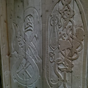 Knotwork doors in longhouse at L'Anse aux Meadows National Historical Site