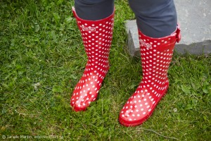 Red Polka Dot Rubber Boots