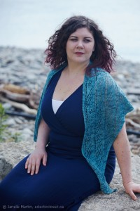 Windswept Trees Shawl with summer outfit