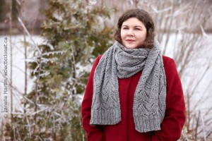 Slate Shores scarf bundled up