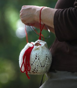 Sanguinaria yarn bag by Naomi Parkhurst