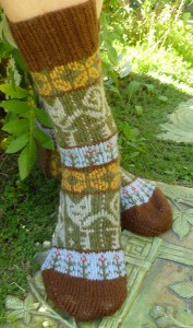Cats in the Garden Socks by Sonja Launspach Kunstwerk Designs